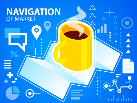 Vector bright illustration navigation map and coffee on blue background for banner, web, site, design, advertising, print, poster. Eps 10. Vector