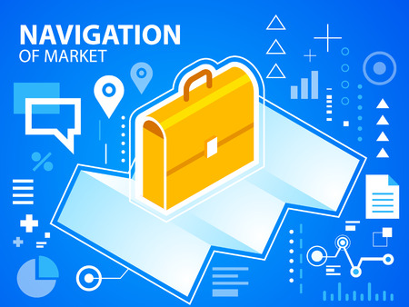Vector bright illustration navigate map and work suitcase on blue background for banner, web, site, design, advertising, print, poster. Eps 10. Vector