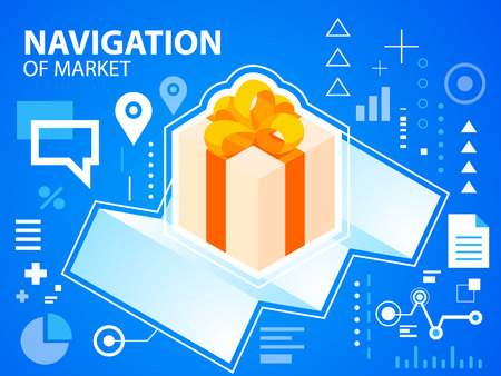 Vector bright illustration navigate map and gift box with bow on blue background for banner, web, site, design, advertising, print, poster. Eps 10. Vector