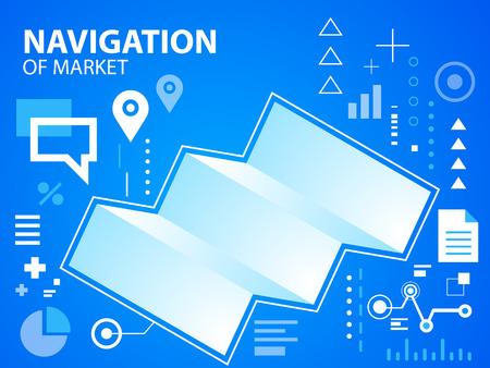 to navigate: Vector bright illustration navigate map on blue background for banner, web, site, design, advertising, print, poster. Eps 10.