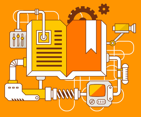 Vector industrial illustration of the mechanism of open book. Yellow color line art and flat design for banner, print, poster, sticker, advertising