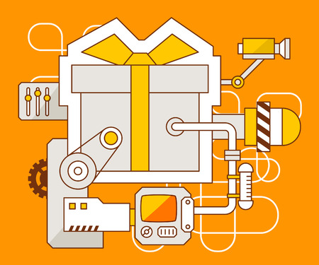 Vector industrial illustration of the mechanism of gift box\ with bow. Yellow color line art and flat design for banner, print,\ poster, sticker, advertising