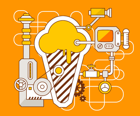 Vector industrial illustration of the mechanism of ice cream. Yellow color line art and flat design for banner, print, poster, sticker, advertising Ilustração