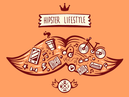 life style: illustration vectorielle grosse moustache de style de vie de hippie avec des �l�ments diff�rents sur fond orange. Art pour banni�re, impression, design, publicit�, affiche Illustration