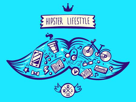 life style: illustration vectorielle grosse moustache de style de vie de hippie avec des �l�ments diff�rents sur fond bleu. Art pour banni�re, impression, design, publicit�, affiche Illustration