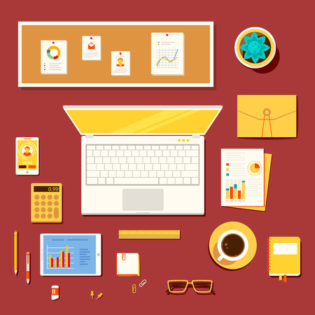 economist: Color bright illustration concept of creative workspace, workplace of accountant, economist, office worker, businessman, manager with accessories and different objects.