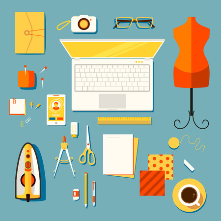 Color bright illustration concept of creative workspace, workplace of designer clothes, seamstress, tailor, cutter with accessories and different objects. Vector
