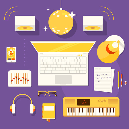 Color bright illustration concept of creative workspace, workplace of musician with accessories and different objects.