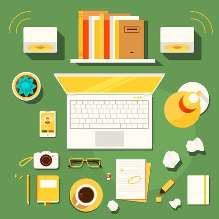 espacio de trabajo: Color brillante ilustraci�n concepto de espacio de trabajo creativo, el lugar de trabajo de escritor, blogger con accesorios y diferentes objetos.