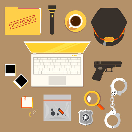 Color bright illustration concept of creative workspace, workplace of officer, policeman, police constable with accessories and different objects. police Illustration
