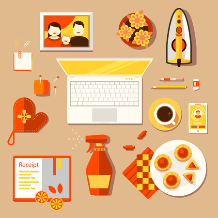 Color bright illustration concept of creative workspace, workplace of homemaker, woman, housewife, mom, mommy, housekeeper with accessories and different objects. Vector