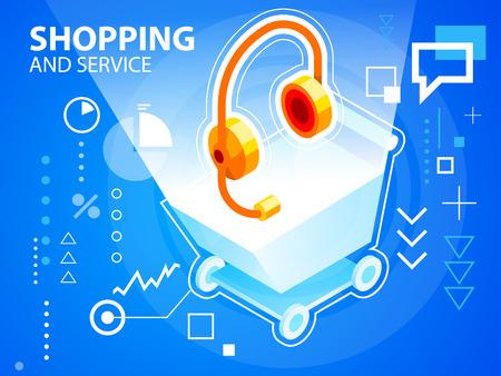 head phone: Vector brillante ilustraci�n carrito de la compra y el tel�fono de cabeza en el fondo azul de la bandera, tela, sitio, dise�o, publicidad, impresi�n, cartel. Eps 10. Vectores