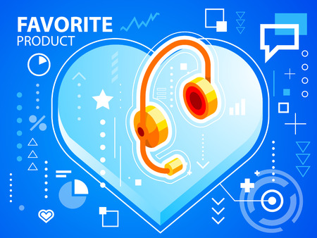Vector bright illustration heart and head phone on blue background for banner, web, site, design, advertising, print, poster. Eps 10. Vector
