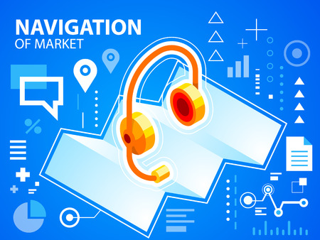 Vector bright illustration navigation map and head phone on blue background for banner, web, site, design, advertising, print, poster. Eps 10. Vector