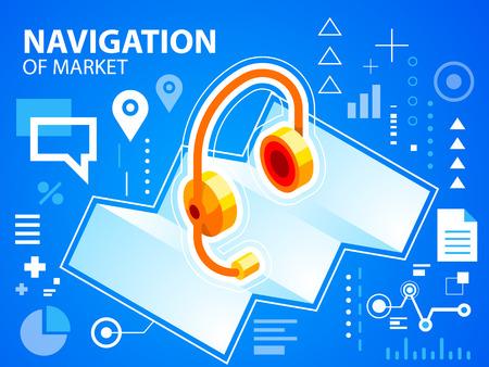 head phone: Vector ilustraci�n brillante mapa de navegaci�n y tel�fono de la cabeza sobre fondo azul para la bandera, tela, sitio, dise�o, publicidad, impresi�n, cartel. Eps 10.