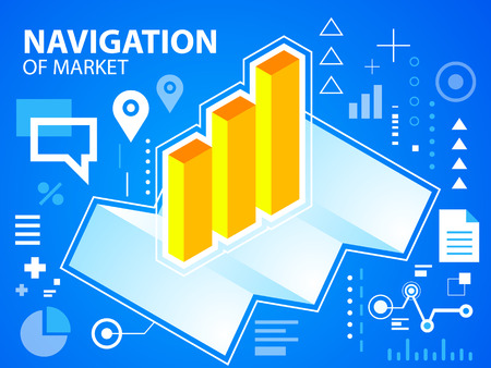to navigate: Vector bright illustration navigate map and bar chart on blue background for banner, web, site, design, advertising, print, poster. Eps 10.