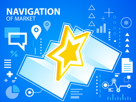 Vector bright illustration navigation map and star on blue background for banner, web, site, design, advertising, print, poster. Eps 10. Vector