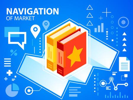 navigate: Vector bright illustration navigate map and books on blue background for banner, web, site, design, advertising, print, poster. Eps 10.