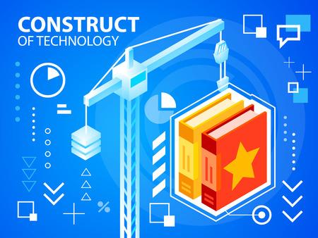 construct: Vector heldere illustratie constructie Crine en boeken op een blauwe achtergrond voor banner, web, website, ontwerp, reclame, print, poster. Eps 10. Stock Illustratie