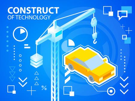 construct: Vector heldere illustratie constructie Crine en auto op blauwe achtergrond voor banner, web, website, ontwerp, reclame, print, poster. Eps 10. Stock Illustratie