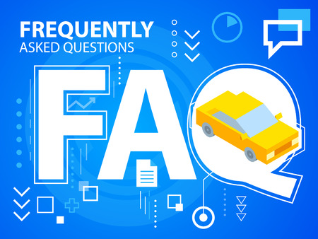 Vector bright illustration faq and car on blue background for banner, web, site, design, advertising, print, poster. Eps 10.