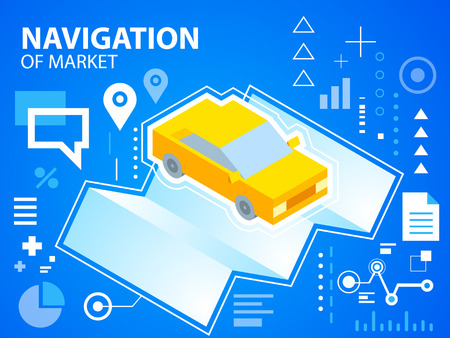 to navigate: Vector bright illustration navigate map and car on blue background for banner, web, site, design, advertising, print, poster. Eps 10.
