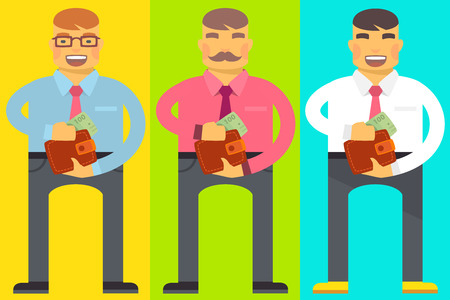 Vector flat bright illustration of set emotion men, they hold a wallet and pull out a banknote by hand for print, advertising, banner, poster, design Ilustração