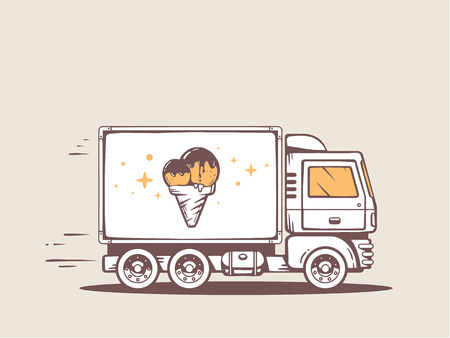 speeding: Vector illustration of truck free and fast delivering ice cream to customer. Line art design for web, site, advertising, banner, poster, board and print. Illustration