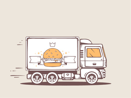 Vector illustration of truck free and fast delivering big burger to customer. Line art design for web, site, advertising, banner, poster, board and print. Vector