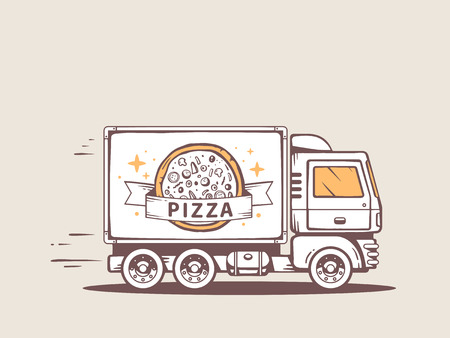 illustration of truck free and fast delivering pizza to customer Vector