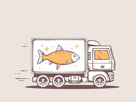 illustration of truck free and fast delivering fish to customer Vector
