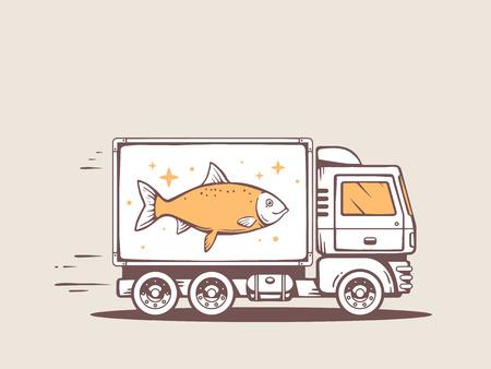 illustration of truck free and fast delivering fish to customer Ilustração