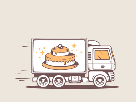 illustration of truck free and fast delivering cake to customer Vector