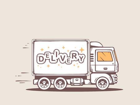 無料および高速を提供して顧客にレタリング配信トラックのイラスト  イラスト・ベクター素材