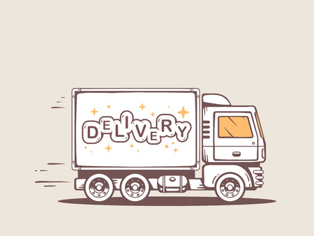 illustration of truck free and fast delivering lettering delivery to customer Stock Illustratie