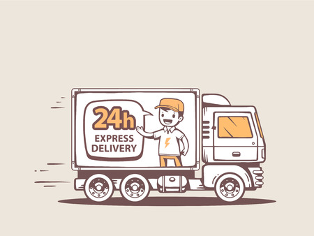 Vector illustration of truck express delivery to customer. Line art design for web, site, advertising, banner, poster, board and print.