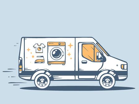 無料ヴァンと青の背景に顧客に洗濯機を提供する高速のベクトル イラスト。ラインの web、サイト、広告、バナー、ポスター、掲示板やプリントのア