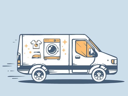 laundry washer: Vector illustration of van free and fast delivering washing machine to customer on blue background. Line art design for web, site, advertising, banner, poster, board and print. Illustration