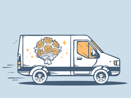 Vector illustration of van free and fast delivering bouquet of flowers to customer on blue background. Line art design for web, site, advertising, banner, poster, board and print.