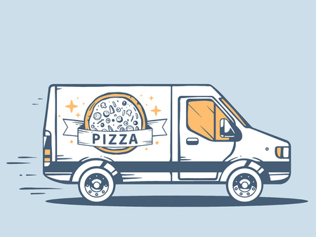 hearty: Vector illustration of van free and fast delivering pizza to customer on blue background. Line art design for web, site, advertising, banner, poster, board and print.