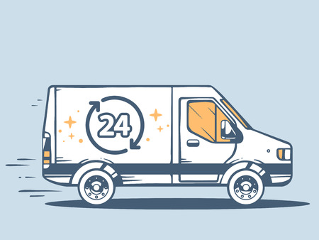 24x7: Vector illustration of van free and fast delivering 24 h to customer on blue background. Line art design for web, site, advertising, banner, poster, board and print.