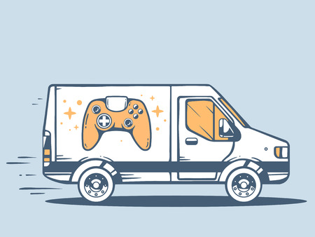 controller: Vector illustration of van free and fast delivering joystick to customer on blue background. Line art design for web, site, advertising, banner, poster, board and print.