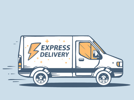 Vector illustration of van express delivery of goods to customer on blue background. Line art design for web, site, advertising, banner, poster, board and print. Çizim