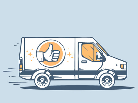 Vector illustration of van best delivering goods to customer on blue background. Line art design for web, site, advertising, banner, poster, board and print.