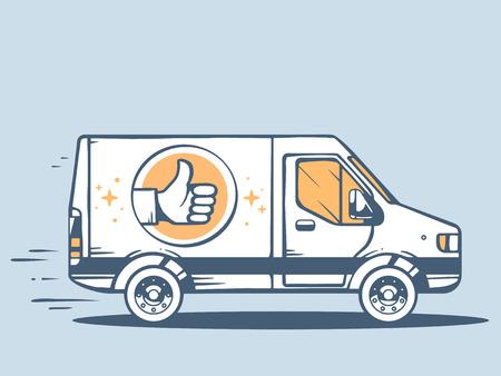moving van: Vector illustration of van best delivering goods to customer on blue background. Line art design for web, site, advertising, banner, poster, board and print.