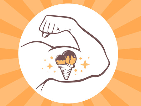 manly: Vector illustration of strong man hand with ice cream icon on bright background. Manly line art design for web, site, advertising, banner, poster, board and print.