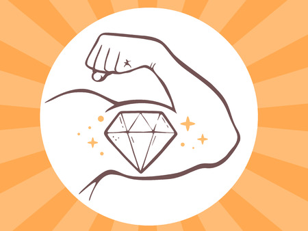 manly: Vector illustration of strong man hand with  icon of diamond on bright background. Manly line art design for web, site, advertising, banner, poster, board and print. Illustration
