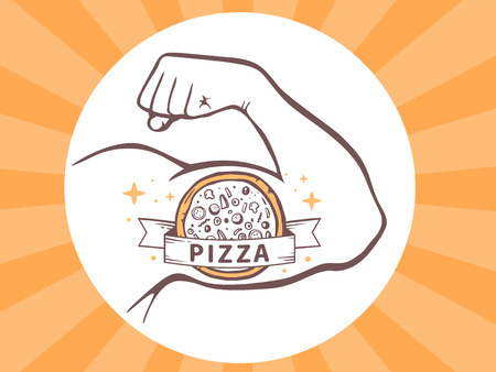 Vector illustration of strong man hand with  icon of pizza on bright background. Manly line art design for web, site, advertising, banner, poster, board and print. Illustration