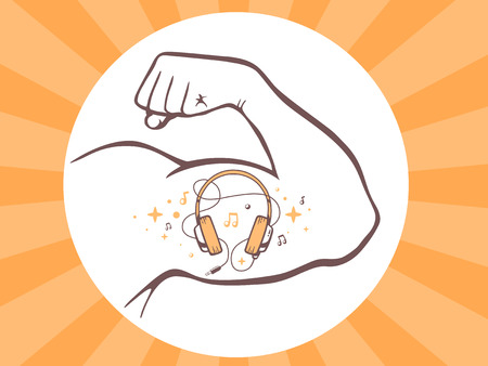 listen fist: Vector illustration of strong man hand with  icon of headphones on bright background. Manly line art design for web, site, advertising, banner, poster, board and print.