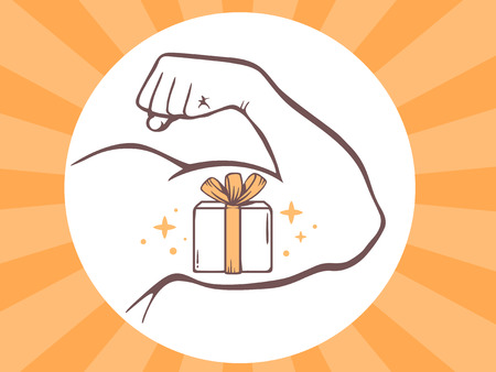strong box: Vector illustration of strong man hand with  icon of gift box on bright background. Manly line art design for web, site, advertising, banner, poster, board and print.